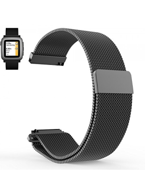Pebble time band, LoveBlue Pebble time 2 band,22mm Magnetic Milanese Loop Stainless Steel Magnet Lock Band for Pebble time 2,Pebble time,Pebble Time Steel (Milanese-Black)