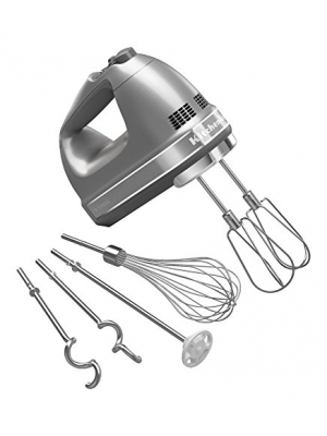 KitchenAid KHM926CU 9-Speed Digital Hand Mixer with Turbo Beater II Accessories and Pro Whisk - Contour Silver