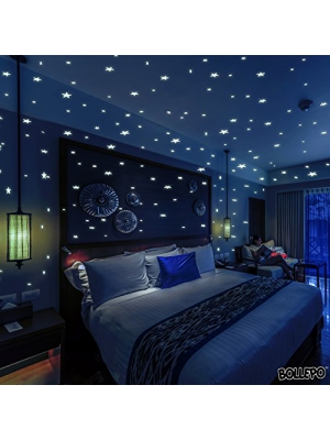 Glow In The Dark Stars Wall Stickers, 332 Adhesive Realistic 3D Stars and Dots for Starry Sky, Perfect For Kids Bedroom or Birthday Gift, Beautiful Glowing Wall Decals