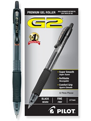 Pilot G2 Retractable Premium Gel Ink Roller Ball Pens, Fine Pt, Dozen Box, Black