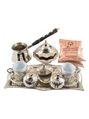 """Silver"" 16 Pieces Turkish Greek Arabic Coffee Set with Cups Saucers Copper Pot Sugar Bowl and Coffee"