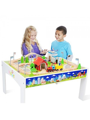 KAJA Wooden Train Track Set with Table for Kids Toddlers Creative Play Train Set and Table (80 pcs)