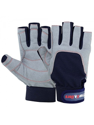 MRX BOXING & FITNESS Brand New SAILING GLOVES Deckhand Gripy Glove Top Quality 3/4 Finger Blue/Grey
