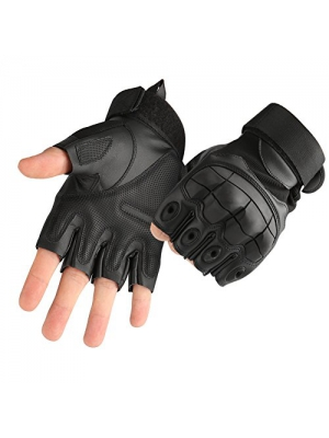 Tactical Fingerless/Half Finger Gloves Shooting Military Combat Gloves with Hard Knuckle Fit for Cycling Airsoft Paintball Motorcycle Hiking Camping By Accmor