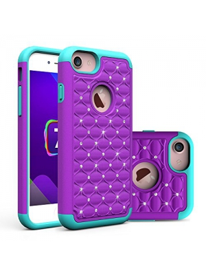 iPhone 7 Case, Asstar Hybrid Defender Dual Layer Protection Slim Trendy Hard Studded Rhinestone Crystal Bling Scratch Protection Hybrid Armor Case for Apple iPhone 7(2016) (purple mint)