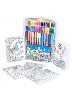 Gel Pens Pen Set: 36 Pack of Smooth Writing Gel Pen Markers for Back to School, Adult Coloring Books, Drawing, Writing, and Sketch Booking Gel Pens BONUS 5 Coloring Sheets and Carrying Case - Gel Bee