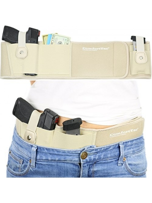 Ultimate Belly Band Holster for Concealed Carry | Nude | Fits Gun Smith and Wesson Bodyguard, Shield, Glock 19, 17, 42, 43, P238, Ruger LCP, and Similar Sized Guns | For Men and Women
