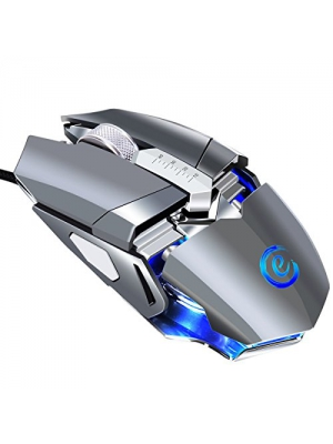 Wired Gaming Mouse Ergonomic USB 9 Programmable Buttons Gaming Mouse 4000 DPI 7 Circular & Breathing LED Light FPS Gaming Mouse for Laptop Computer Gaming Mice