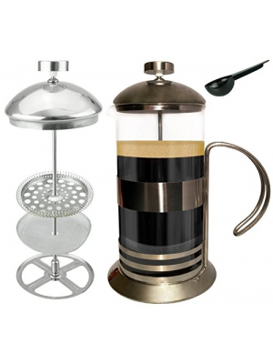 Gear Ultimate French Press: 34 Oz Coffee Tea Espresso Maker, Plunger, Press Pot, Cafetiere, with Stainless Steel & Heat Resistant Borosilicate Glass, Coffee Spoon, 2 Extra Fine 100-Grid Mesh Filters