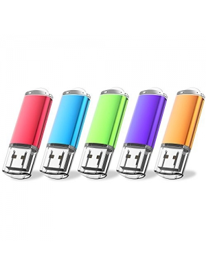 JUANWE 5 Pack 64GB USB Flash Drive USB 2.0 Thumb Drive Jump Drive Memory Stick Pen - Blue/Purple/Red/Green/Orange(64GB, 5 Mixed Color)