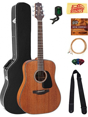 Takamine GD11MNS Mahogany Dreadnought Acoustic Guitar - Natural Satin Bundle with Hard Case, Cable, Tuner, Strap, Strings, Picks, Austin Bazaar Instructional DVD, and Polishing Cloth