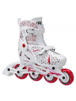 Roller Derby Girls Tracer Adjustable Inline Skate, White/Red
