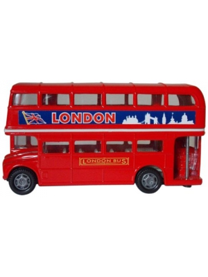 "- London Double Decker Bus Hard Top (4.75"" Diecast Model Car, Red)"