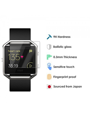 Fitbit Blaze Tempered Glass Screen Protector - Premuim 9H Japanese Ballistic Glass Protection - 2 Pack - HD Clarity, Super Thin, Fingerprint Proof, Easy Install Accessory to the Fitbit Blaze Band