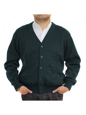 CELITAS DESIGN Alpaca Cardigan Golf Sweater Jersey BRIAD Dark Green V neck buttons and Pockets made in Peru
