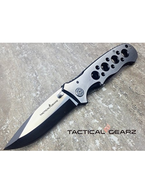 LIGHTNING DEAL!! SCRATCH N DENT SALE!! TacticalGearz Folding Knife, 440c Stainless Steel Drop Pont Blade, Black Titanium/Stainless Steel Handle