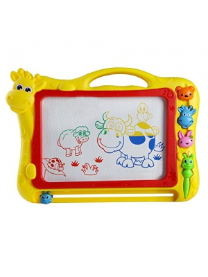 Educational Toys Magnetic Writing Painting Drawing Board Erasable Sketching Tablet Drawing Doodle Pad and Scribble Boards With Animal Stamp for Children Kids(Color Vary)
