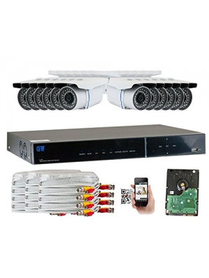 GW Security 16-Channel HD-TVI 1080P Complete Security System with (12) x True HD 1080P Outdoor/Indoor Bullet Security Cameras and 3TB HDD, QR Code Scan Free Remote View