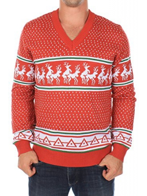 Ugly Christmas Sweater - Conga Line V-Neck Reindeer Sweater (Red)