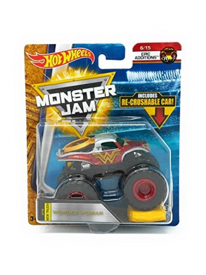 Hot Wheels Monster Jam 2018 Epic Additions Wonder Woman (With Re-Crushable Car) 1:64 Scale