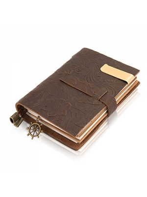 Traveler Poet Traveler leather notebook Handmade Leather Bound Daily Notepad For Men & Women with Unlined Paper and Zipper Pocket--Brown