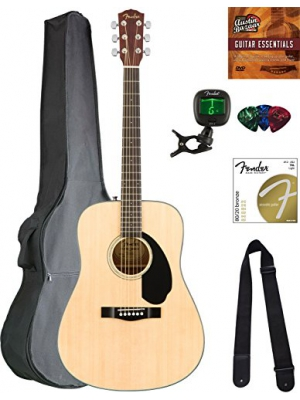 Fender CD-60S Dreadnought Acoustic Guitar - Natural Bundle with Gig Bag, Tuner, Strap, Strings, Picks, Austin Bazaar Instructional DVD, and Polishing Cloth