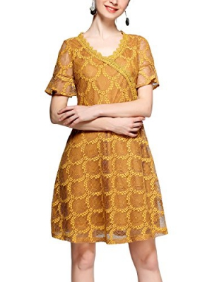 L&M Floral Lace Dress with Short Sleeves for Women in Yellow or Gold