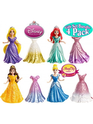 Disney Princess Little Kingdom Royal Fashions MagiClip Dolls & Fashions Rapunzel, Belle, Ariel & Cinderella Gift Set Bundle - 4 Pack