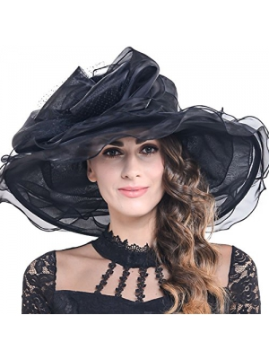 Women Kentucky Derby Church Dress Organza Hat Wide Brim Flat Hat S601