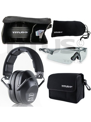 TITUS Earmuff/Glasses Combo – B2 Low-Profile Muffs & G Series Safety Glasses - Ear+Eye Protection Bundle (EarMuffs, Glasses, and Carrying Case) - Personal Safety