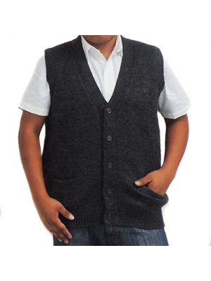 Vest Alpaca Wool V neck buttons made in Peru Dark Grey