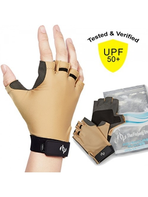 UV SUN PROTECTION GLOVES For Men & Women, Certified UPF50+, Half Finger Glove Fishing, Sailing, Kayaking, Driving, Golfing, Fingerless, FREE Of Chemicals, Machine Washable, XL to XS