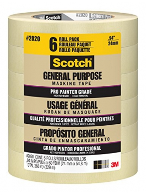 Scotch Contractor Grade Masking Tape, .94 inch x 60.1 yard, 2020, 6 Rolls
