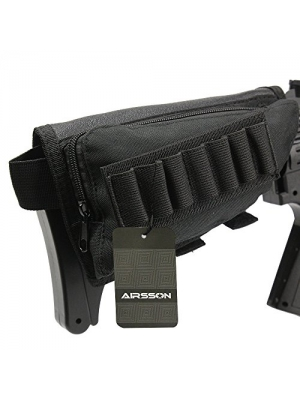 AIRSSON Tactical Buttstock Butt Stock Holder Ammo Pouch Molle 7 Shells Pouch with Cheek Leather Pad for Right Hand
