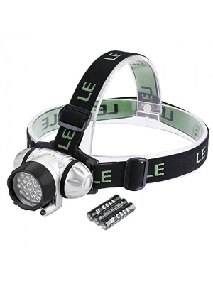 LE LED Headlamp, 4 Lighting Modes Headlight, Battery Powered Helmet Light, AAA Batteries Included for Camping Running Hiking Reading and more (1)