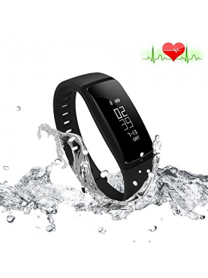 Fitness Tracker Heart Rate Monitor Blood Pressure Bracelet Sedentary Reminding Sleep Management Alarm SNS Call Reminder Pedometer Sport Activity Healthy Wristband with OLED Touch