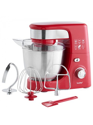 VonShef 3.5-QT Stand Mixer 300W with 5 Speeds includes Beater, Balloon Whisk, Dough Hook & Spatula - Red