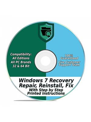 Windows 7 Repair & Recovery Disk 32 & 64 Bit DVD Reinstall Reboot Fix ALL Brands HP, Dell, Asus, Toshiba, etc. Laptop/Desktop Computers [Instructions & Support]