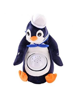 Polly Penguin Nightlight Soother with Favorite Lullabies, Nature Sounds and Projecting Stars & Moon Light by Dimple