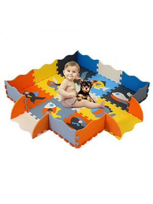 HAN-MM Baby Foam Mat with Fence Non Toxic Crawl Mat Baby Tiles Play Puzzle Mat with Softer Thicker EVA Foam Mat for Kids Toddlers Babies Playrooms/Nursery Tummy Time and Crawling Style 23 Fish
