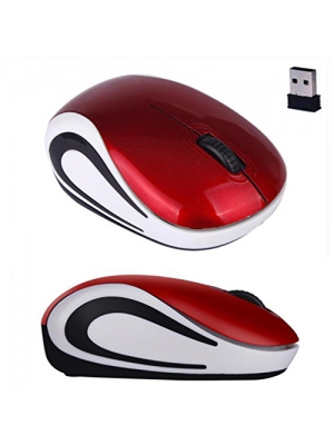 Mouse,Landfox Cute Mini Wireless Optical Mouse For PC Laptop-Red