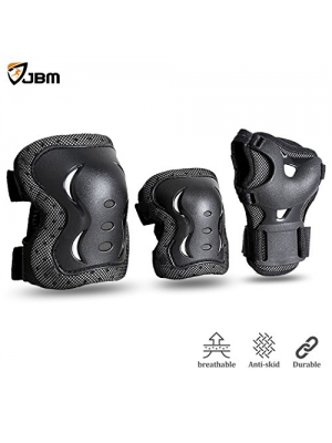 JBM international JBM Kids & Adults Cycling Roller Skating Knee Elbow Wrist Protective Pads-Black/Adjustable Size, Suitable for Skateboard, Biking, Mini Bike Riding and Other Extreme Sports