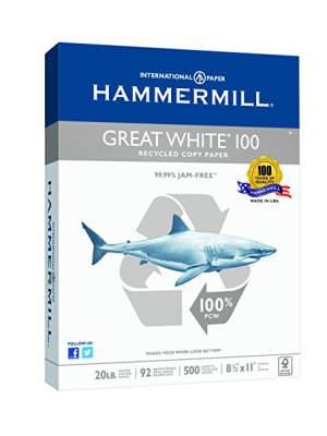 "Hammermill Great White 100% Recycled Copy Paper, 20lb, 8.5"" x 11"", Letter, 92 Bright, 500 Sheets/1 Ream (086790)"