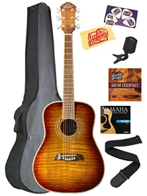Oscar Schmidt OG1 3/4-Size Acoustic Guitar Bundle with Gig Bag, Strap, Strings, Instructional DVD, Tuner, Picks, and Polishing Cloth - Flame Yellow Sunburst