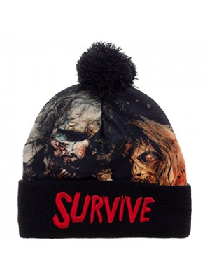 The Walking Dead Sublimated Survive Text Cuff Pom Beanie