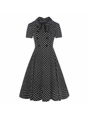 Samtree Women's Vintage 40s 50s Style Short Sleeve Polo Neck Plaid Swing Dress