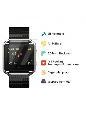 Fitbit Blaze Screen Protector with American Made Film Protection - 6 Pack - High Grade, Super Thin, Perfect Easy Install Accessory to the Fitbit Blaze Band