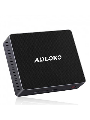 Mini pc - Gemini Lake, ADLOKO GE41 Windows10 Mini PC, Desktop Computer, Intel Celeron N4100 Up to 2.4Ghz, 4GB DDR4/64GB, Support Dual HDMI Output/2.5'HDD/SSD/USB-C/Dual WiFi, Mini Computers