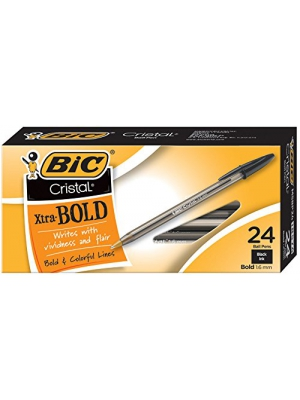 BIC MSBP241-Blk Cristal Xtra Bold Ball Pen, Bold Point (1.6mm), Black, 24-Count