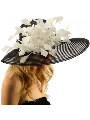 "Spectacular Spray Feathers Sinamay Derby Floppy Wide Brim 7"" Dress Hat"